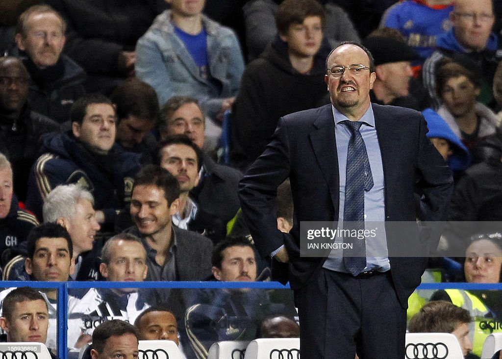 Chelsea's interim Spanish manager Rafael Benitez reacts during the English Premier League football match between Chelsea and Manchester City at Stamford Bridge in London on November 25, 2012. Chelsea fans have not universally welcomed Benitez's appointment as Roberto Di Matteo's interim successor, after the frequent spats that accompanied clashes between Benitez's Liverpool and Jose Mourinho's Chelsea. AFP PHOTO/IAN KINGTON USE. No use with unauthorised audio, video, data, fixture lists, club/league logos or 'live' services. Online in-match use limited to 45 images, no video emulation. No use in betting, games or single club/league/player publications.