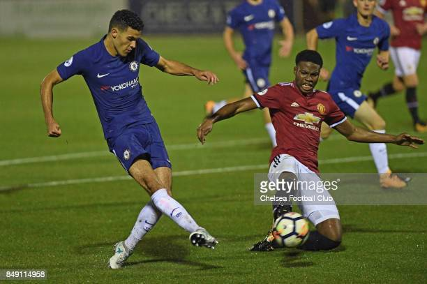 Chelsea's Isaac ChristieDavies scores his goal during the Premier League 2 match between Chelsea FC and Manchester United on September 18 2017 in...