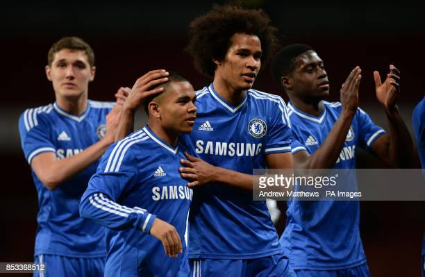 Chelsea's Isaiah Brown celebrates with Jay DaSilva after the FA Youth Cup Semi Final match at the Emirates Stadium London