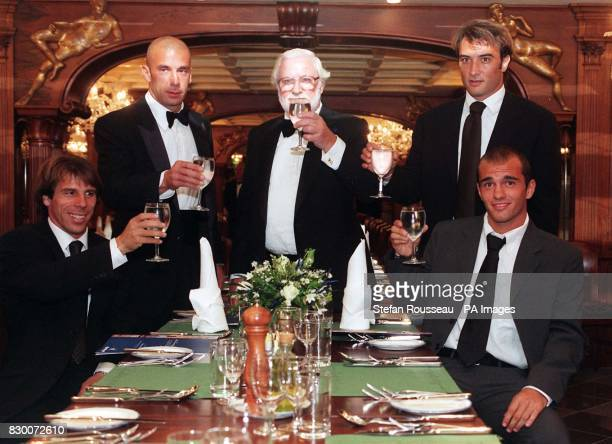 Chelsea's Italian connection Gianfranco Zola Gianluca Vialli Pierluigi Casiraghi and new signing Luca Percassi raise their glasses at the launch of...