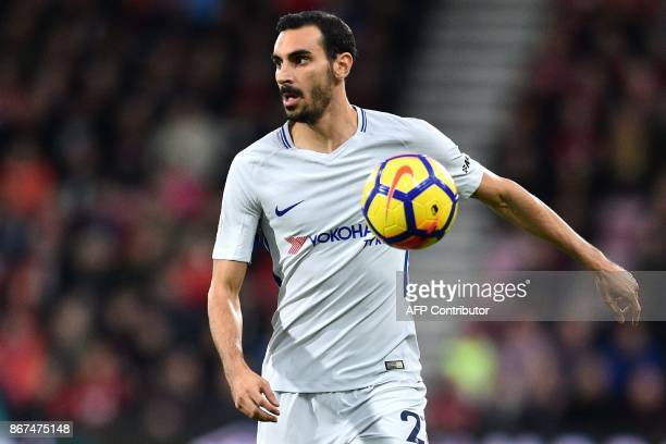 Chelsea's Italian defender Davide Zappacosta runs with the ball during the English Premier League football match between Bournemouth and Chelsea at...
