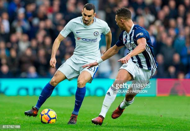 Chelsea's Italian defender Davide Zappacosta vie with West Bromwich Albion's English defender Kieran Gibbs during the English Premier League football...