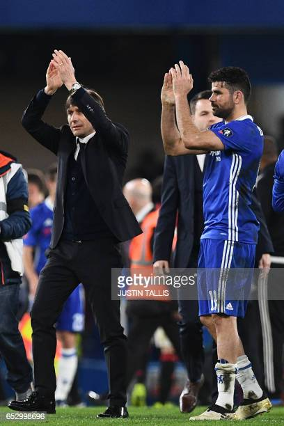 Chelsea's Italian head coach Antonio Conte and Chelsea's Brazilianborn Spanish striker Diego Costa celebrate on the pitch after the English FA Cup...