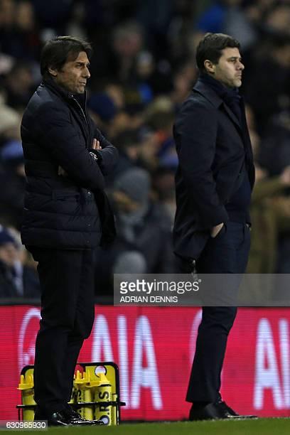 Chelsea's Italian head coach Antonio Conte and Tottenham Hotspur's Argentinian head coach Mauricio Pochettino watch from the touchline before kick...