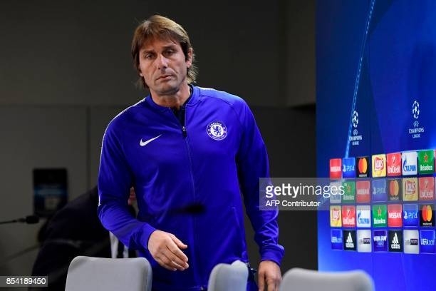 Chelsea's Italian head coach Antonio Conte arrives for a press conference at the Wanda Metropolitano stadium in Madrid on September 26 2017 on the...