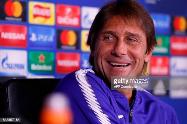 Chelsea's Italian head coach Antonio Conte attends a press conference at Chelsea's Cobham training facility in Stoke D'Abernon southwest of London on...