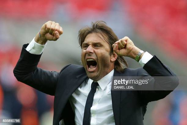 Chelsea's Italian head coach Antonio Conte celebrates victory after the English Premier League football match between Tottenham Hotspur and Chelsea...