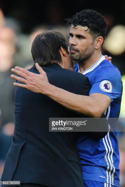 Chelsea's Italian head coach Antonio Conte embraces Chelsea's Brazilianborn Spanish striker Diego Costa during the English Premier League football...