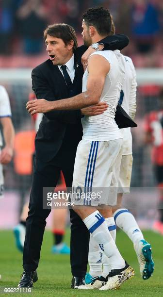 Chelsea's Italian head coach Antonio Conte embraces Chelsea's Brazilianborn Spanish striker Diego Costa at the end of the English Premier League...
