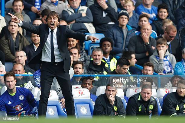 Chelsea's Italian head coach Antonio Conte gestures on the touchline during the English Premier League football match between Chelsea and Leicester...