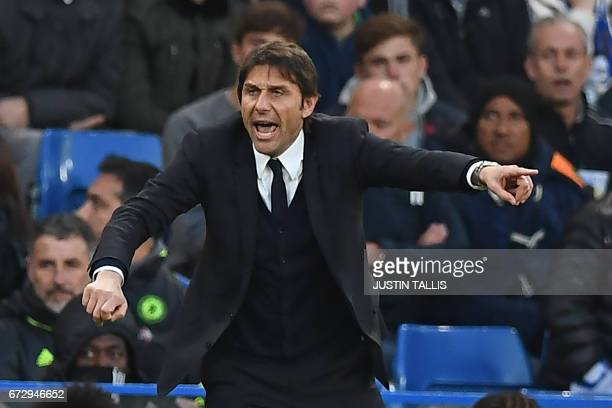 Chelsea's Italian head coach Antonio Conte gestures on the touchline during the English Premier League football match between Chelsea and Southampton...