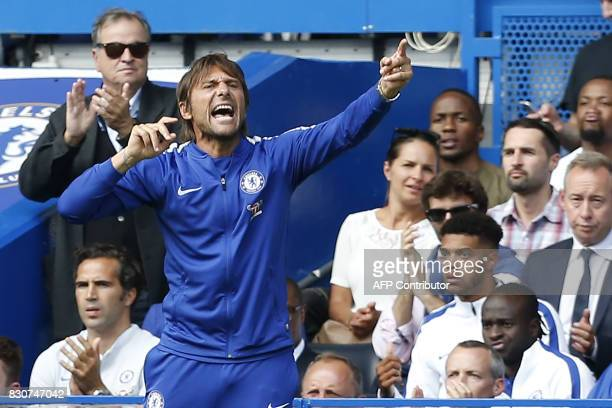 Chelsea's Italian head coach Antonio Conte gestures on the touchline during the English Premier League football match between Chelsea and Burnley at...