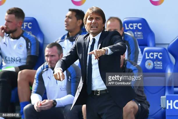 Chelsea's Italian head coach Antonio Conte gestures on the touchline during the English Premier League football match between Leicester City and...