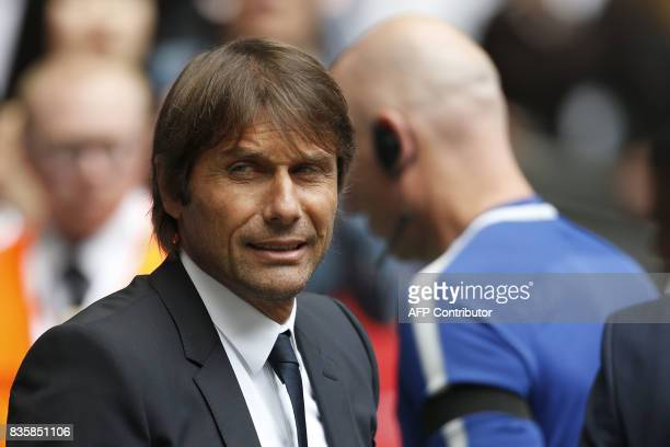 Chelsea's Italian head coach Antonio Conte looks on before the English Premier League football match between Tottenham Hotspur and Chelsea at Wembley...
