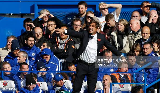 Chelsea's Italian head coach Antonio Conte shouts instructions to his players from the touchline during the English Premier League football match...
