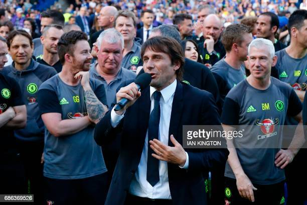 Chelsea's Italian head coach Antonio Conte talks during the presentation ceremony for the English Premier League trophy at the end of the Premier...