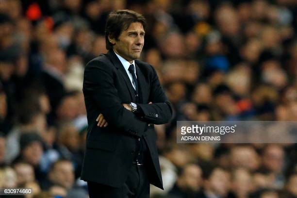 Chelsea's Italian head coach Antonio Conte watches from the touchline during the English Premier League football match between Tottenham Hotspur and...