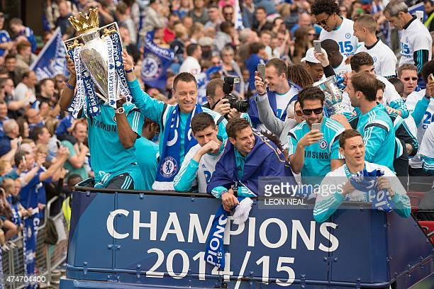 Chelsea's Ivorian striker Didier Drogba Chelsea's English defender John Terry Chelsea's Belgian goalkeeper Thibaut Courtois Chelsea's Spanish...