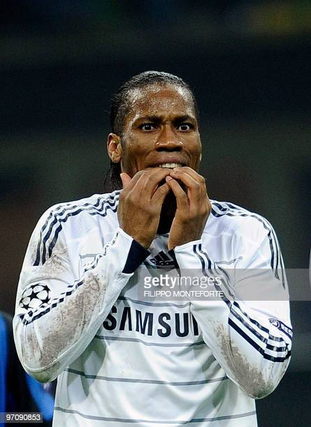 Chelsea's Ivorian striker Didier Drogba reacts during his team's UEFA Champions League second round first leg match against Inter Milan on February...