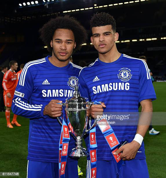 Chelsea's Izzy Brown and Dominic Solanke celebrate with the trophy after winning the FA Youth Cup Final
