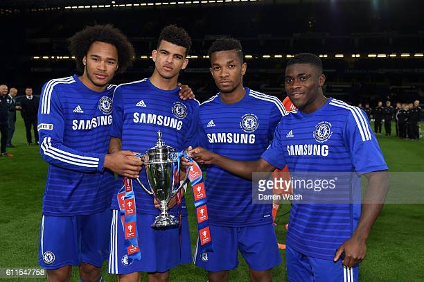 Chelsea's Izzy Brown Dominic Solanke Kasey Palmer and Jeremie Boga celebrate with the trophy after winning the FA Youth Cup Final