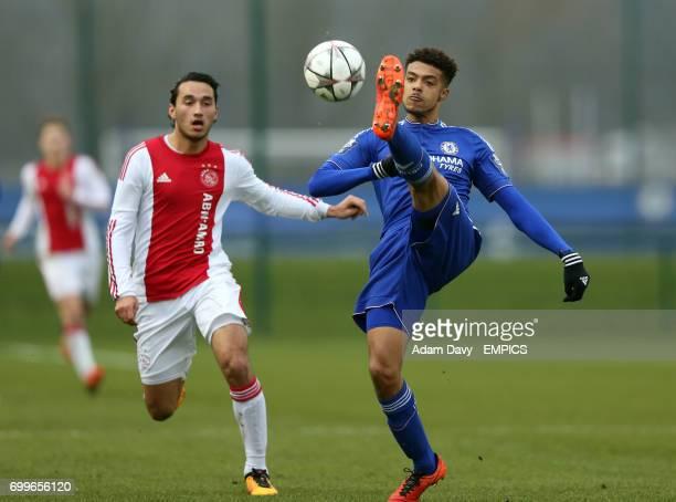 Chelsea's Jake ClarkeSalter and Ajax's Ezra Walian battle for the ball