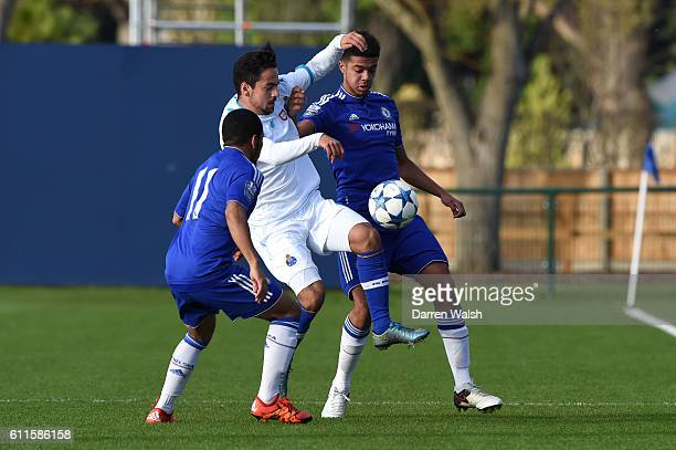 Chelsea's Jay DaSilva and Jake ClarkeSalter battle with FC Porto's Bruno Costa for the ball