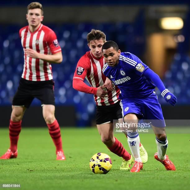 Chelsea's Jay Dasilva and Southampton's Jake Flannigan
