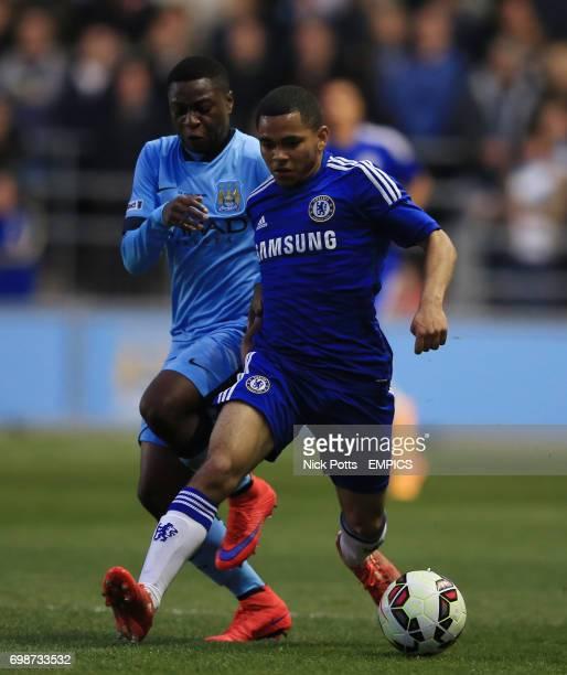 Chelsea's Jay Dasilva holds off challenge from Manchester City's Aaron Nemane