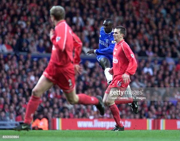 LEAGUE Chelsea's Jimmy Floyd Hasselbaink scores the equalizer against Liverpool during the Premiership football match at Anfield Liverpool