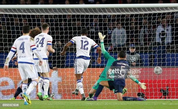 Chelsea's John Obi Mikel scores his side's first goal past Paris SaintGermain goalkeeper Kevin Trapp