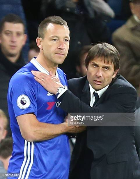 Chelsea's John Terry and Chelsea manager Antonio Conte during the Premier League match between Chelsea and Southampton at Stamford Bridge London...