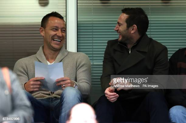 Chelsea's John Terry and former player Frank Lampard in the stands before the FA Youth Cup Final First Leg match at Stamford Bridge London
