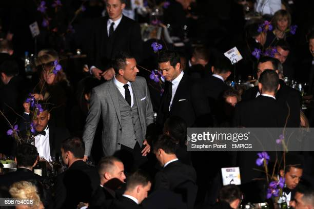 Chelsea's John Terry and Frank Lampard in conversation during the PFA Player of the Year Awards 2015 at the Grosvenor House Hotel London