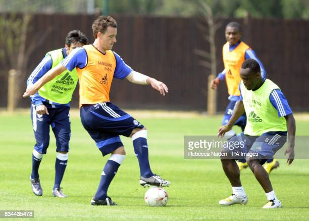 Chelsea's John Terry and Michael Essien during the UEFA Champions League Media Day at Cobham London