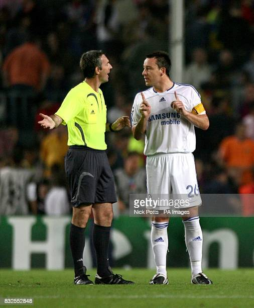 Chelsea's John Terry argues with referee Stefano Farina