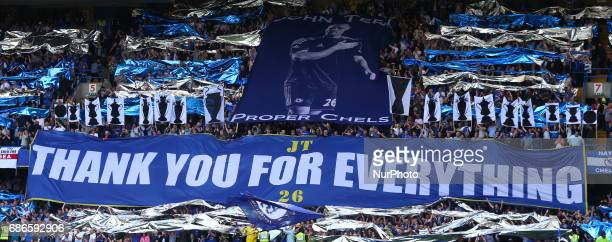 Chelsea's John Terry banner during the Premier League match between Chelsea and Sunderland at Stamford Bridge London England on 21 May 2017