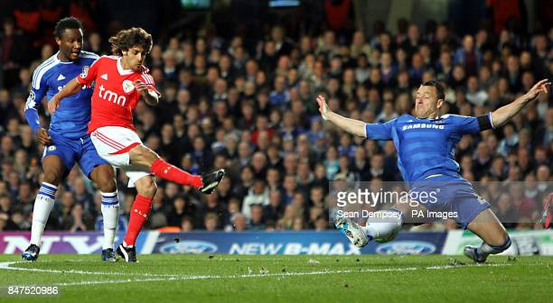 Chelsea's John Terry blocks a shot from Benfica's Pablo Aimar during the UEFA Champions League match at Stamford Bridge London
