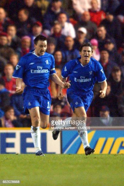 Chelsea's John Terry celebrates scoring the equalising goal against Middlesbrough with Frank Lampard