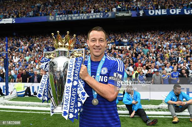 Chelsea's John Terry celebrates with the Premier League Trophy after the match