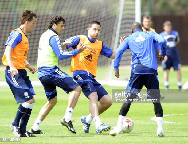 Chelsea's John Terry Claudio Pizarro and Frank Lampard during the UEFA Champions League Media Day at Cobham London