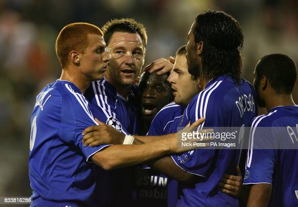 Chelsea's John Terry Joe Cole Didier Drogba Claude Makelele Ashley Cole and Steve Sidwell group together at the final whistle