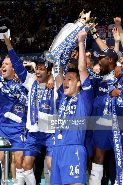 Chelsea's John Terry lifts the Premiership Trophy