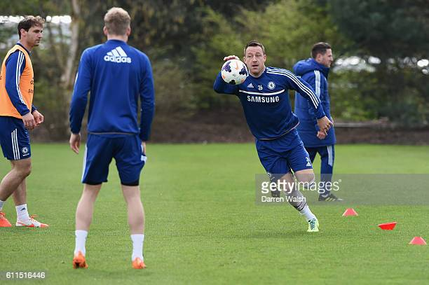 Chelsea's John Terry plays basketball during a training session at the Cobham Training Ground on 4th April 2014 in Cobham England THIS CONTENT IS...