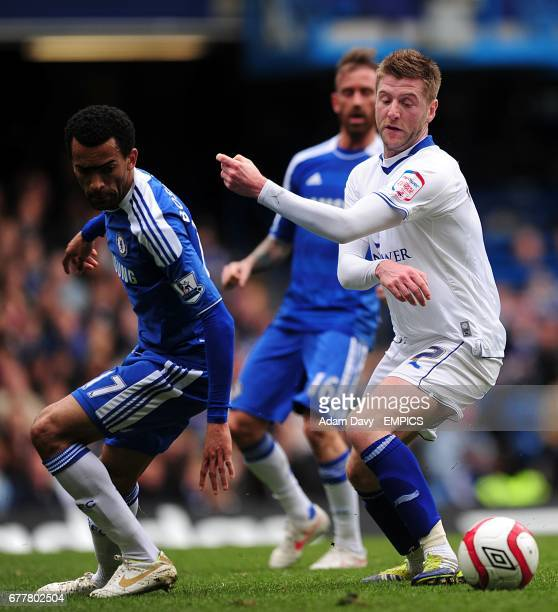 Chelsea's Jose Bosingwa and Leicester City's Paul Gallagher battle for the ball