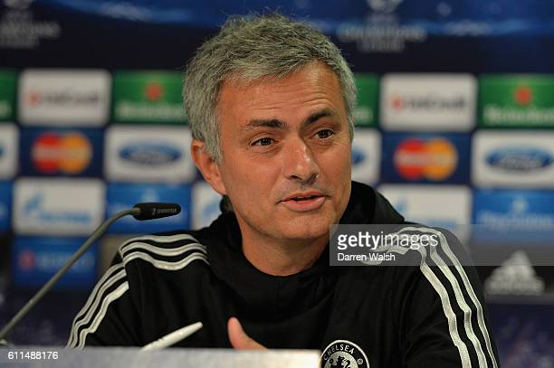 Chelsea's Jose Mourinho during a UEFA Champions League Press Conference at Dusseldorf Airport on 21st October 2013 in Dusseldorf Germany