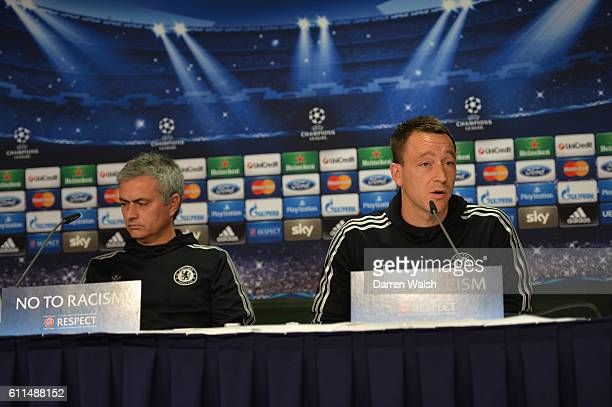 Chelsea's Jose Mourinho John Terry during a UEFA Champions League Press Conference at Dusseldorf Airport on 21st October 2013 in Dusseldorf Germany
