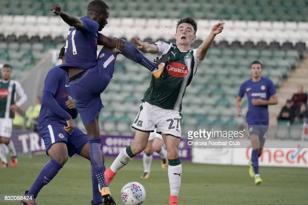 Chelsea's Joseph Colley clashes with Plymouth Argyle's Alex Fletcher during the Checkatrade Trophy match at Home Park on August 15 2017 in Plymouth...