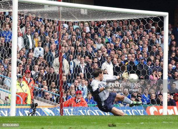 Chelsea's keeper Marco Ambrosio dives the wrong way from Villa's Darius Vassell penalty during the Barclaycard Premiership match at Villa Park...