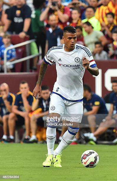 Chelsea's Kenedy moves the ball during an International Champions Cup football match against Barcelona in Landover Maryland on July 28 2015 AFP...